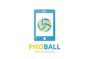 Vector volleyball and phone logo