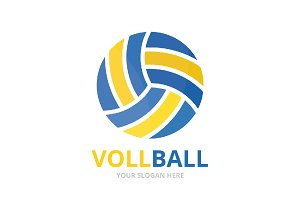 Vector volleyball logo combination.