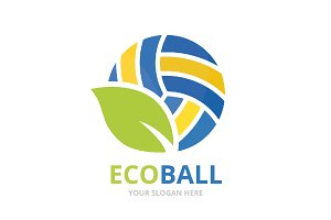 Vector volleyball and leaf logo combination. Play and eco symbol or icon. Unique ball and organic logotype design template.