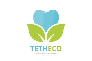 Vector of tooth and leaf logo