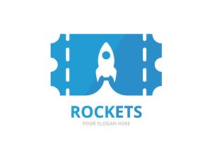 Vector ticket and rocket logo