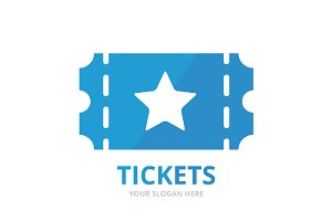 Vector ticket logo combination.