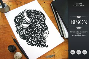 Ornate Calligraphic Bison