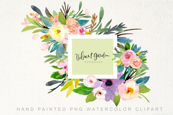 Handpainted Watercolor Flowers PNG in Illustrations