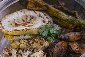 grilled vegetables offer on vegan organic food market