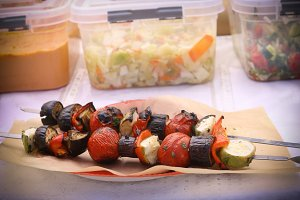 grilled vegetables on vegan food market
