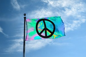 Holographic peace sign flag