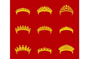 Cartoon Tiara Set. Vector