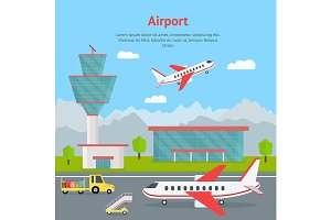 Airport and Airplanes Card. Vector