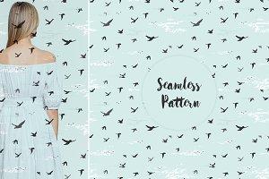 flying bird. seamless pattern