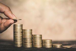 Female hand holding money on table