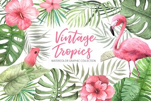 Watercolor Vintage Tropical Set