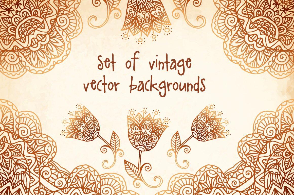 Mehndi Ceremony Background Wallpapers : Set of mehndi vector backgrounds patterns creative market