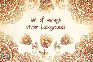 Set of mehndi vector backgrounds