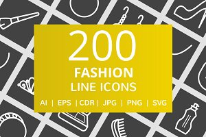 200 Fashion Line Inverted Icons