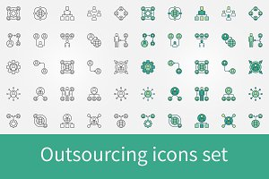 Outsourcing vector icons set