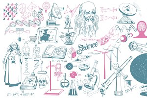 Hand Drawn Scientific Icons Set