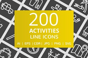 200 Activities Line Inverted Icons