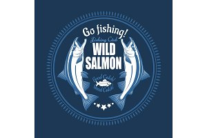 Salmon fish. Vintage Salmon Fishing emblems, labels and design elements. Vector illustration on blue.