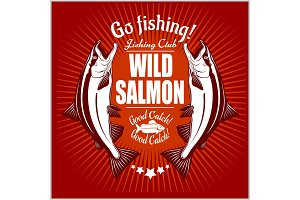 Salmon fish. Vintage Salmon Fishing emblems, labels and design elements. Vector illustration on red.