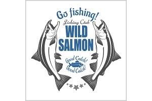 Salmon fish. Vintage Salmon Fishing emblems, labels and design elements. Vector illustration on white.