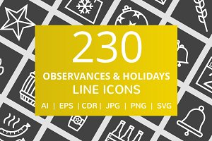 230 Observances & Holiday Line Icons