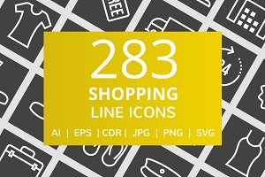 284 Shopping Line Inverted Icons