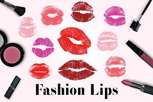 Fashion Lips Clipart, Kissing Lips