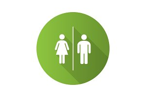 Public toilet sign flat design long shadow glyph icon