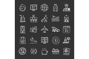 Airport service chalk icons set