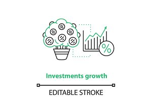 Investment growth concept icon