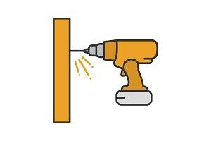 Cordless drill color icon