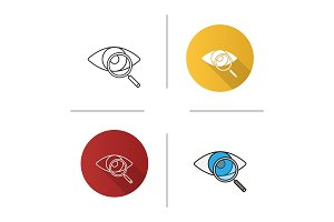 Eye with magnifying glass icon