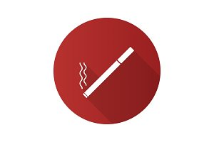 Burning cigarette flat design long shadow glyph icon