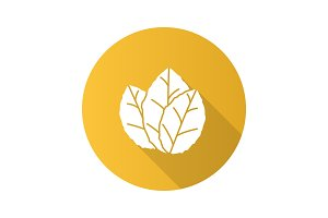 Tobacco leaves flat design long shadow glyph icon