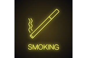 Burning cigarette neon light icon