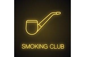 Tobacco pipe neon light icon
