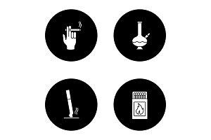 Smoking glyph icons set