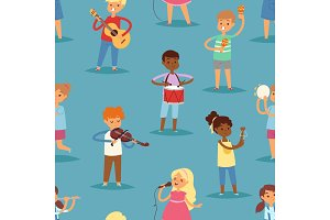 Music kids vector cartoon characters set of children singing or playing musical instruments guitar, violin and flute in childhood kiddy illustration seamless pattern background
