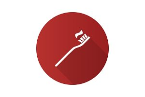 Toothbrush with toothpaste flat design long shadow glyph icon