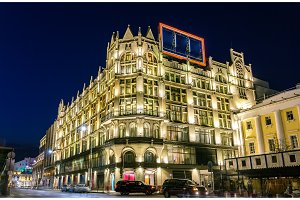 TsUM, Central Universal Department Store, a historical Gothic Revival style building in Moscow, Russia