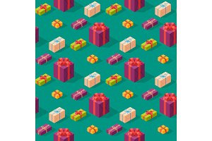 Gift boxes pack composition event greeting isometric birthday seamless pattern background vector illustration.