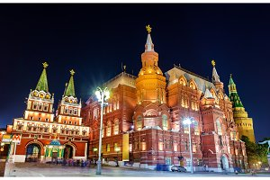 Resurrection or Iberian Gate and the State Historical Museum in Moscow, Russia