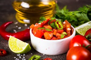 Salsa sauce and ingredients.