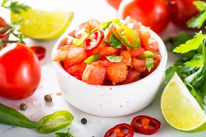 Traditional Latin American mexican salsa sauce on white.