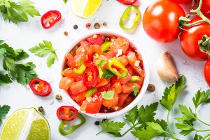 Traditional Latin American mexican salsa sauce and ingredients o