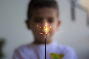 Little boy and a sparkler