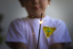 Little boy with a sparkler