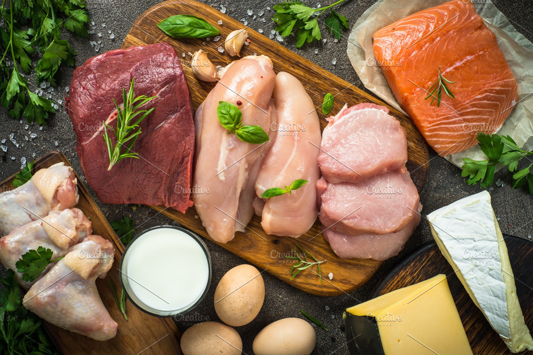 Animal protein sources- meat, fish, cheese and milk
