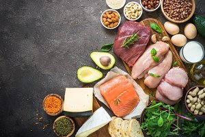 Protein sources - meat, fish, cheese, nuts, beans and greens.